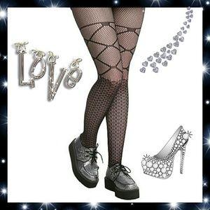 Leg Avenue Black Diamond & Bow Fishnet Tights
